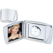Silver Polished Analog Clock and Photo Frame