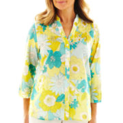 Alfred Dunner® Walking On Sunshine Floral Patch Shirt