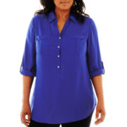 a.n.a® Half-Placket Tunic – Plus