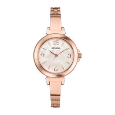 jcpenney.com | Bulova® Womens Rose-Tone Mother-of-Pearl Bracelet Watch 97L137
