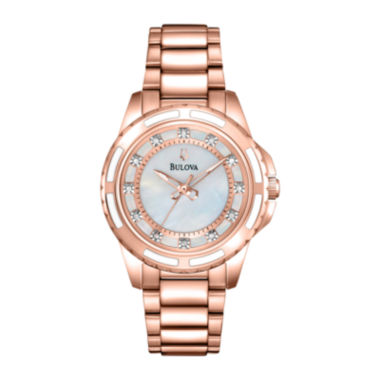 jcpenney.com | Bulova® Womens Rose-Tone Mother-of-Pearl Bracelet Watch 98P141