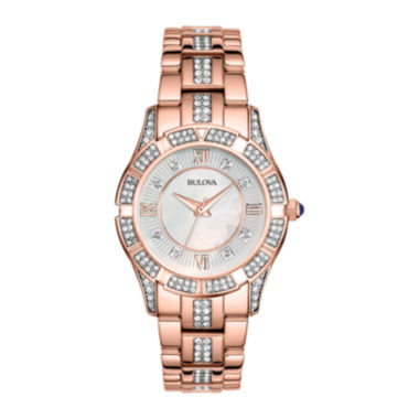 jcpenney.com | Bulova® Womens Rose-Tone Crystal Accent Watch 98L197