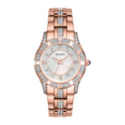 Bulova® Womens Rose-Tone Crystal Accent Watch