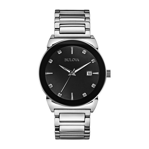 Bulova® Mens Silver-Tone Black Dial Diamond Accent Watch 96D121
