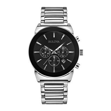 bulova mens chronograph silver bracelet watch jcpenney com bulova® mens silver tone black dial chronograph watch 96b203