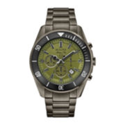 Bulova® Mens Green Dial Stainless Steel Bracelet Watch