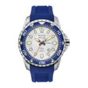 Bulova® Marine Star Mens Blue Silicone Strap Automatic Watch 98B208