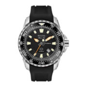Bulova® Marine Star Mens Black Rubber Strap Automatic Watch