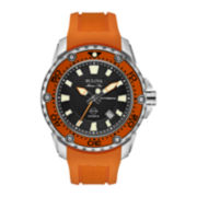 Bulova® Marine Star Mens Orange Silicone Strap Automatic Watch 98B207