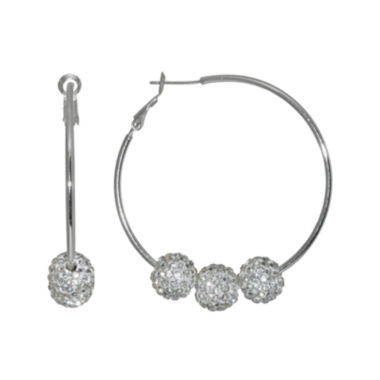 jcpenney.com | Crystal Silver-Plated 3-Ball Hoop Earrings