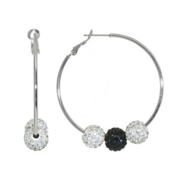 jcpenney.com | Black & Clear Crystal Silver-Plated 3-Ball Hoop Earrings