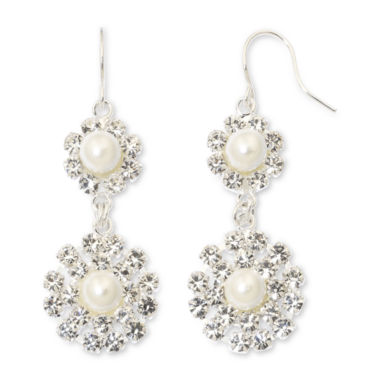 jcpenney.com | Vieste® Rhinestone & Simulated Pearl Double-Drop Flower Earrings