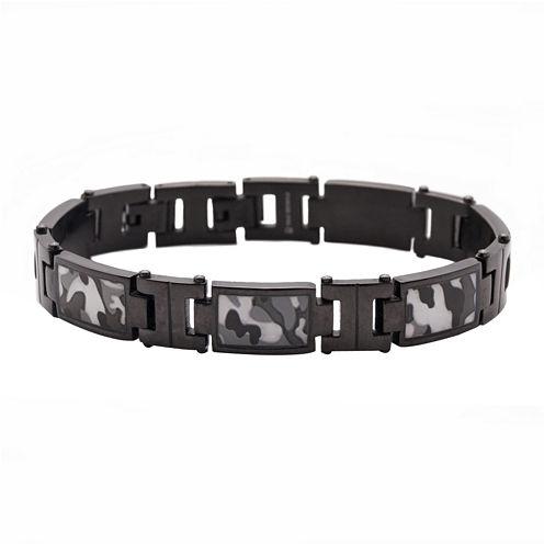 Mens Stainless Steel Camouflage Link Bracelet