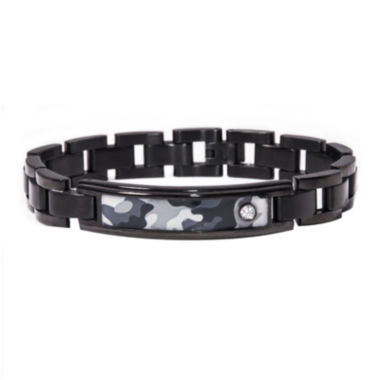 jcpenney.com | Mens Diamond-Accent Stainless Steel Camouflage ID Bracelet