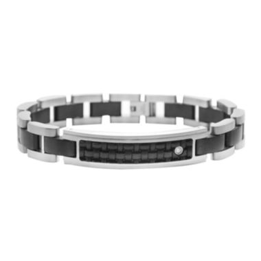 jcpenney.com | Mens Diamond-Accent Stainless Steel & Leather ID Bracelet