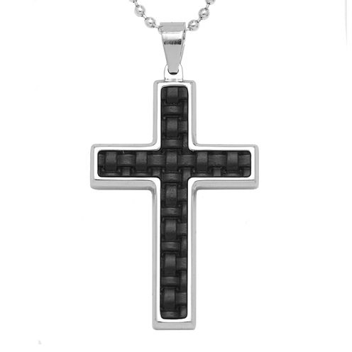 Mens Stainless Steel & Leather Cross Pendant Necklace