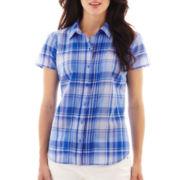 St. John's Bay® Short-Sleeve Print Campshirt - Petite