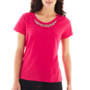 St. John's Bay® Short-Sleeve Embellished Tee - Petite