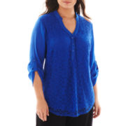 Alyx® 3/4-Sleeve Lace-Front Top - Plus