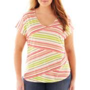 Liz Claiborne Short-Sleeve V-Neck Striped Tee - Plus