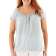 Liz Claiborne® Short-Sleeve Peasant Blouse - Plus