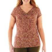 Liz Claiborne® Cap-Sleeve Twisted Neck Top - Plus
