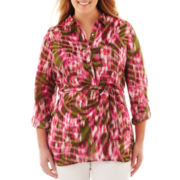 Liz Claiborne Roll Tab Sleeve Print Tunic - Plus