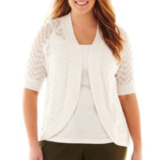 Liz Claiborne Elbow-Sleeve Pointelle Cardigan - Plus