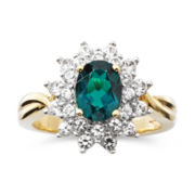 Lab Created Emerald & White Sapphire Ring