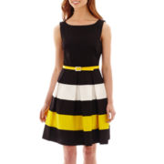 Tiana B. Sleeveless Colorblock Belted Fit-and-Flare Dress