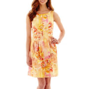 Danny & Nicole® Sleeveless Floral Print Seamed Fit-and-Flare Dress