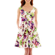 Danny & Nicole® Sleeveless Floral Print Sweetheart-Neck Fit-and-Flare Dress