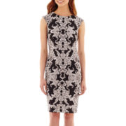 R&K Originals® Cap-Sleeve Brocade Mirror Print Scuba Knit Sheath Dress