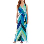 R&K Originals® Geometric Print Tie-Belt Maxi Dress