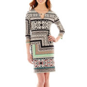 Tiana B. 3/4-Sleeve Tile Print Shift Dress