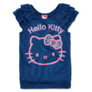 Hello Kitty® Glitter Ruffle Top - Preschool Girls 4-6x