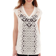 nicole by Nicole Miller® Short-Sleeve V-Neck Burnout Top