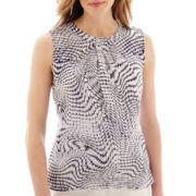 Liz Claiborne® Sleeveless Print Blouse