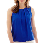 Liz Claiborne® Sleeveless Bubble-Hem Blouse