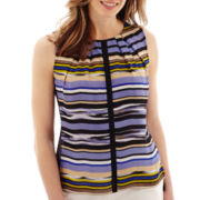 Liz Claiborne® Sleeveless Striped Shell