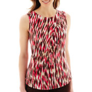 Liz Claiborne® Sleeveless Print Knit Draped Top