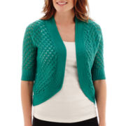 Liz Claiborne® Elbow-Sleeve Crochet Cardigan