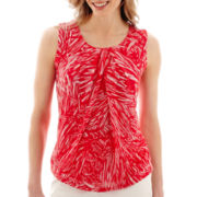 Liz Claiborne® Print Pleat-Neck Mesh Tank Top
