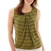 Liz Claiborne® Print Pleat-Neck Mesh Tank Top