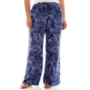 St. John's Bay® Print Wide-Leg Woven Soft Pants - Plus