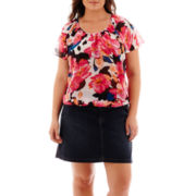 St. John's Bay® Print Peasant Blouse or Denim Skort - Plus