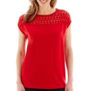 Liz Claiborne® Short-Sleeve Crochet T-Shirt