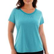 St. John's Bay® Short-Sleeve Picot-Trim T-Shirt - Plus