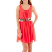 by&by Sleeveless Belted Chiffon Dress
