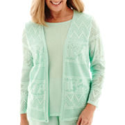 Alfred Dunner® 3/4-Sleeve Layered Pointelle Cardigan